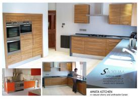 Amata Kitchen in natural cherry and anthracite Corian